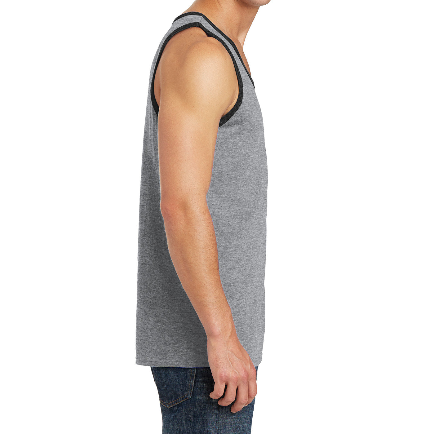 Men's Core Cotton Tank Top - Athletic Heather/ Jet Black - Side