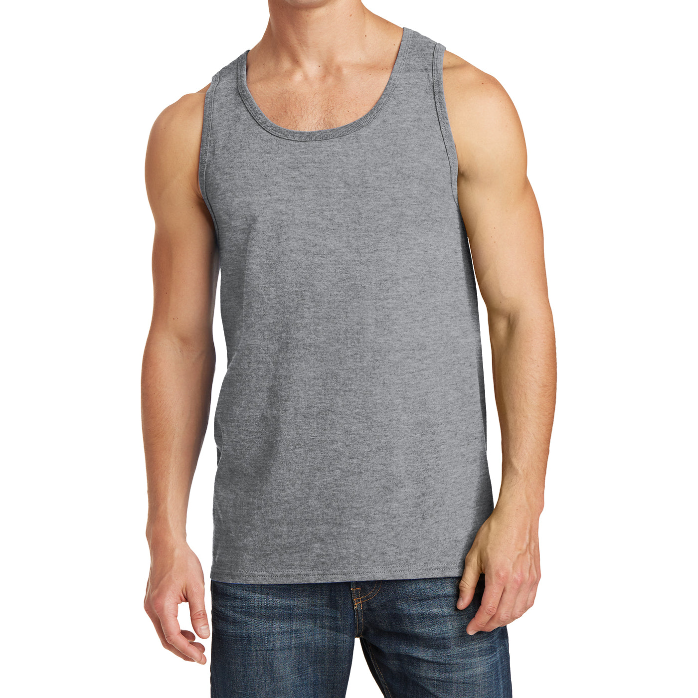 Men's Core Cotton Tank Top - Athletic Heather - Front