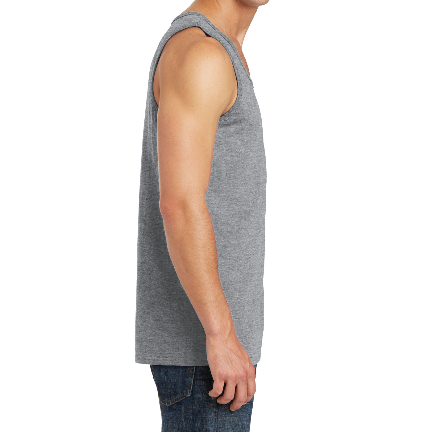 Men's Core Cotton Tank Top - Athletic Heather - Side
