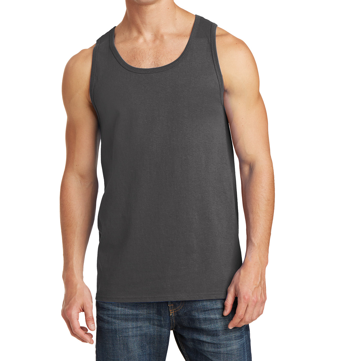 Men's Core Cotton Tank Top - Charcoal - Front