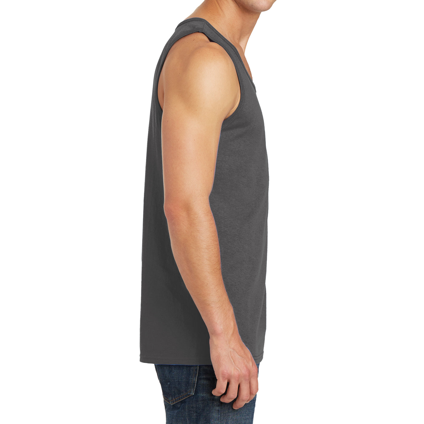 Men's Core Cotton Tank Top - Charcoal - Side