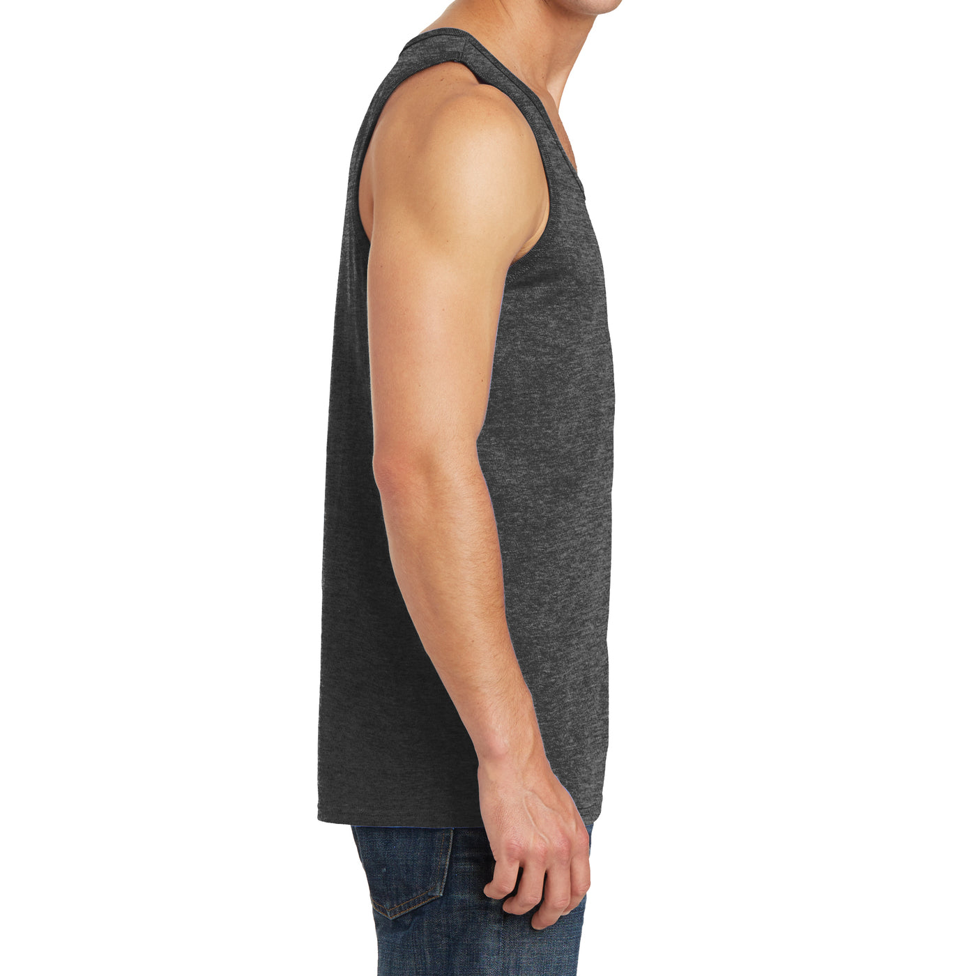 Men's Core Cotton Tank Top - Dark Heather Grey - Side