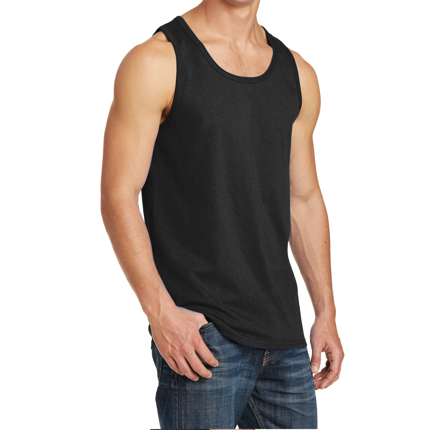 Men's Core Cotton Tank Top - Jet Black - Side