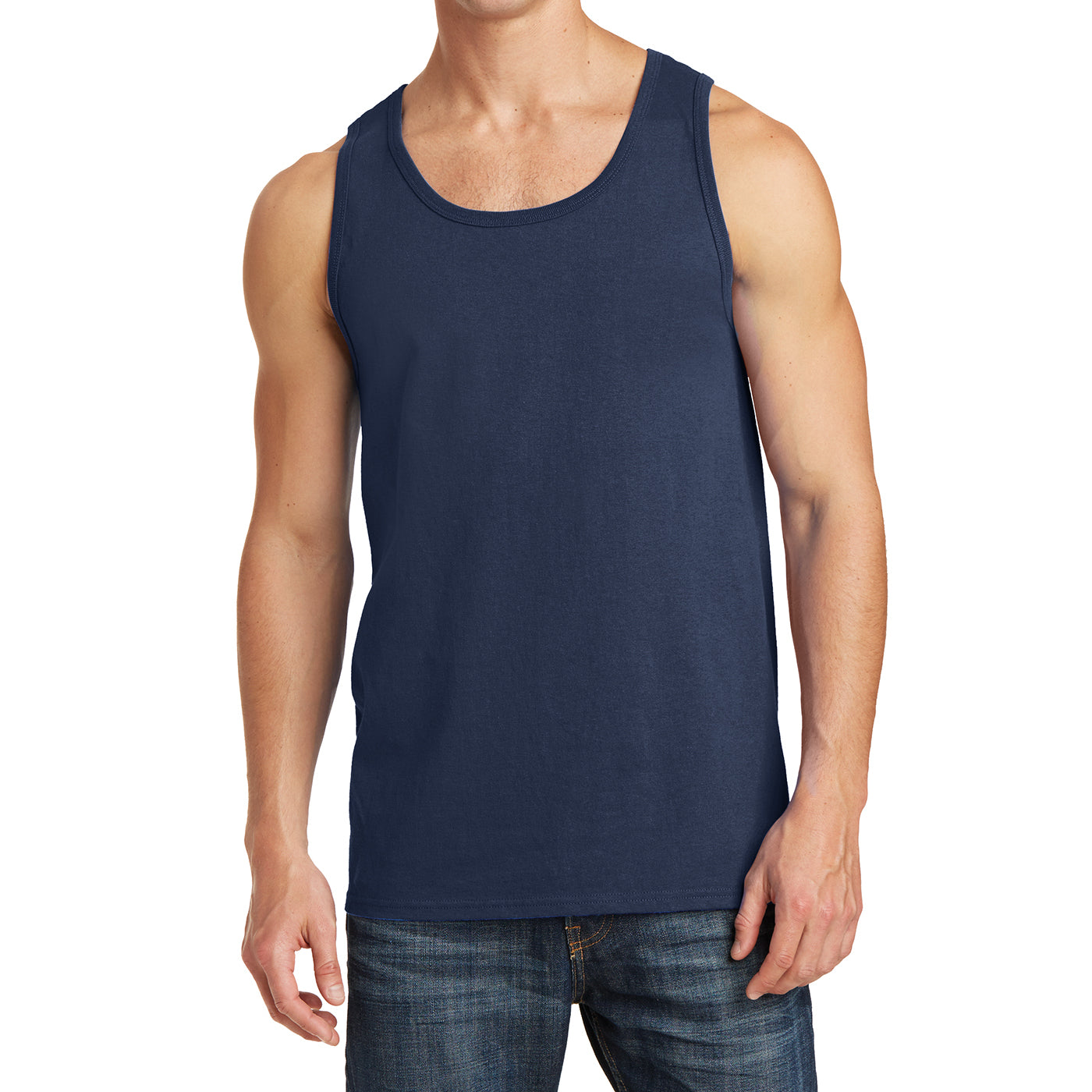 Men's Core Cotton Tank Top - Navy - Front
