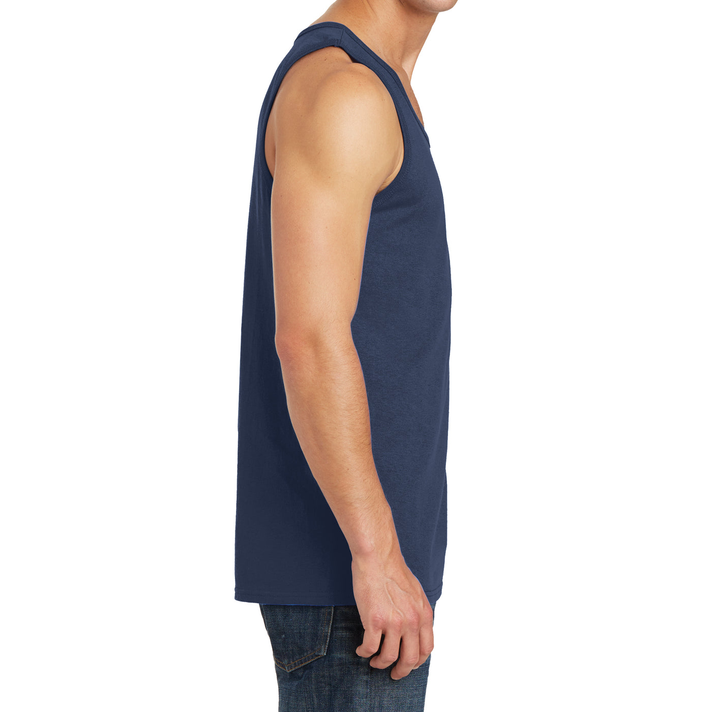 Men's Core Cotton Tank Top - Navy - Side