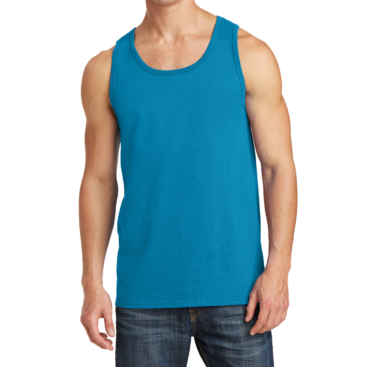 Men's Core Cotton Tank Top - Neon Blue - Front
