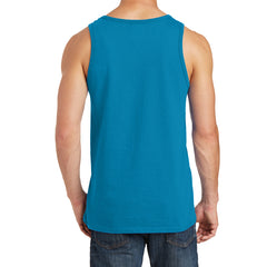 Men's Core Cotton Tank Top - Neon Blue - Back