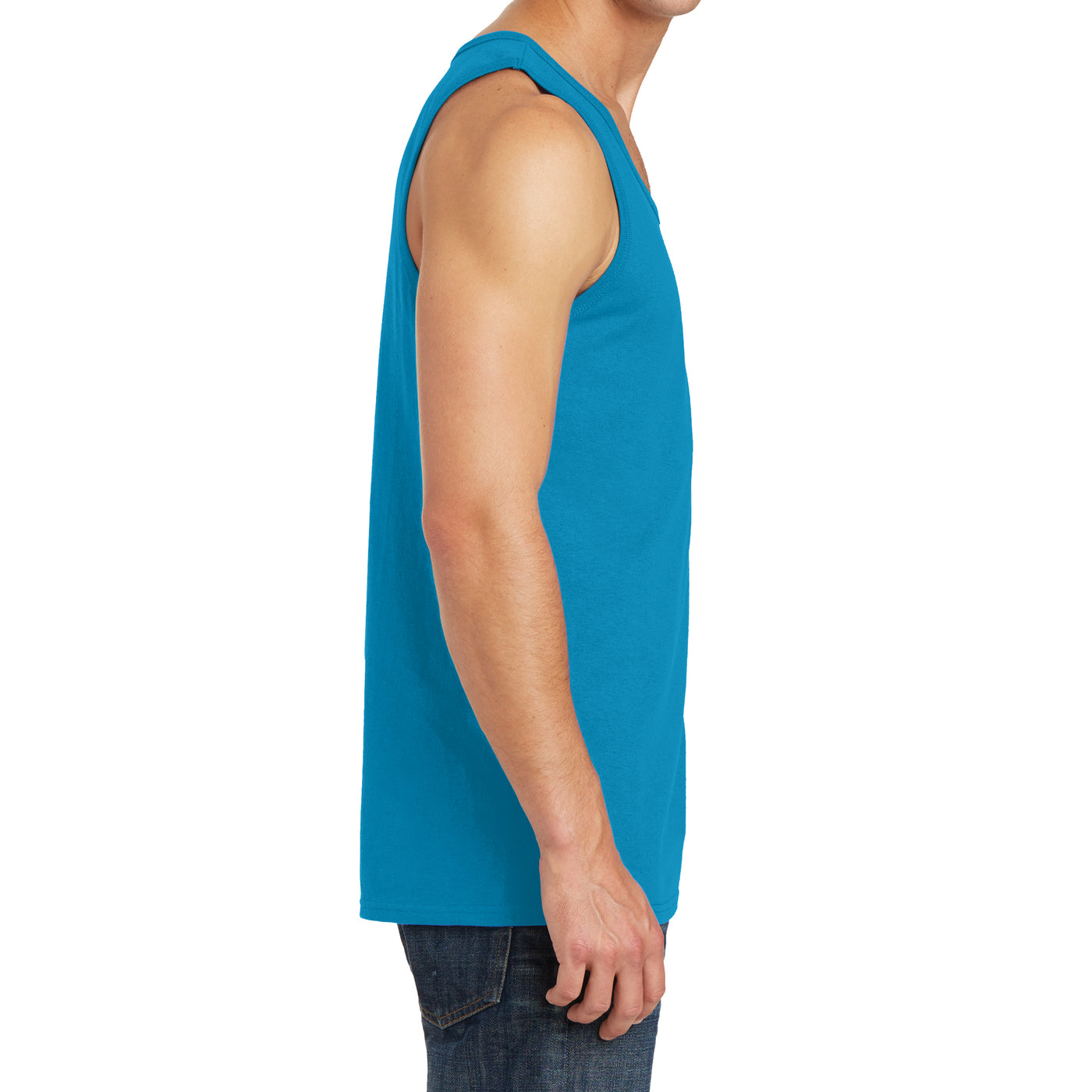 Men's Core Cotton Tank Top - Neon Blue - Side
