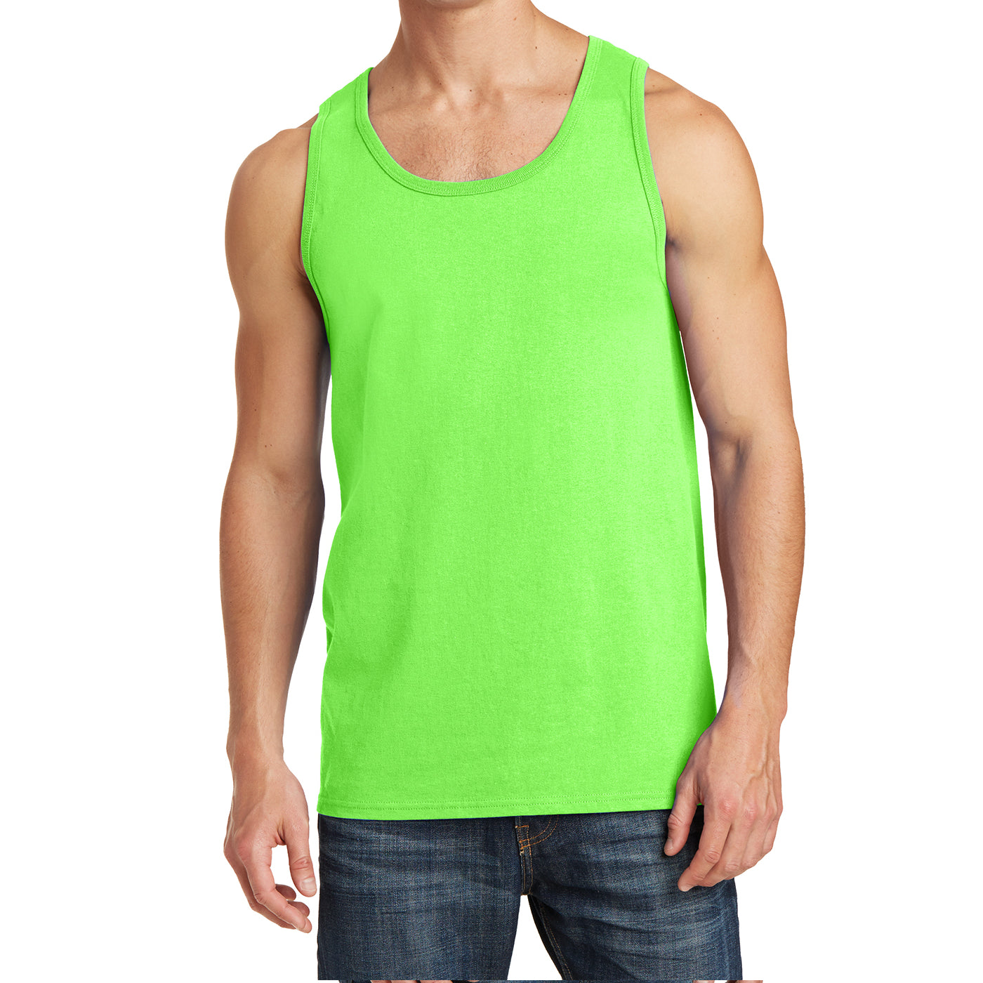 Men's Core Cotton Tank Top - Neon Green - Front