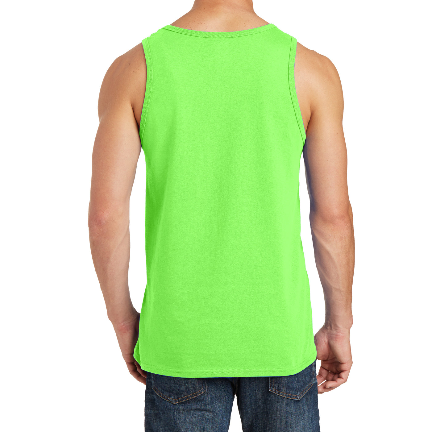 Men's Core Cotton Tank Top - Neon Green - Back