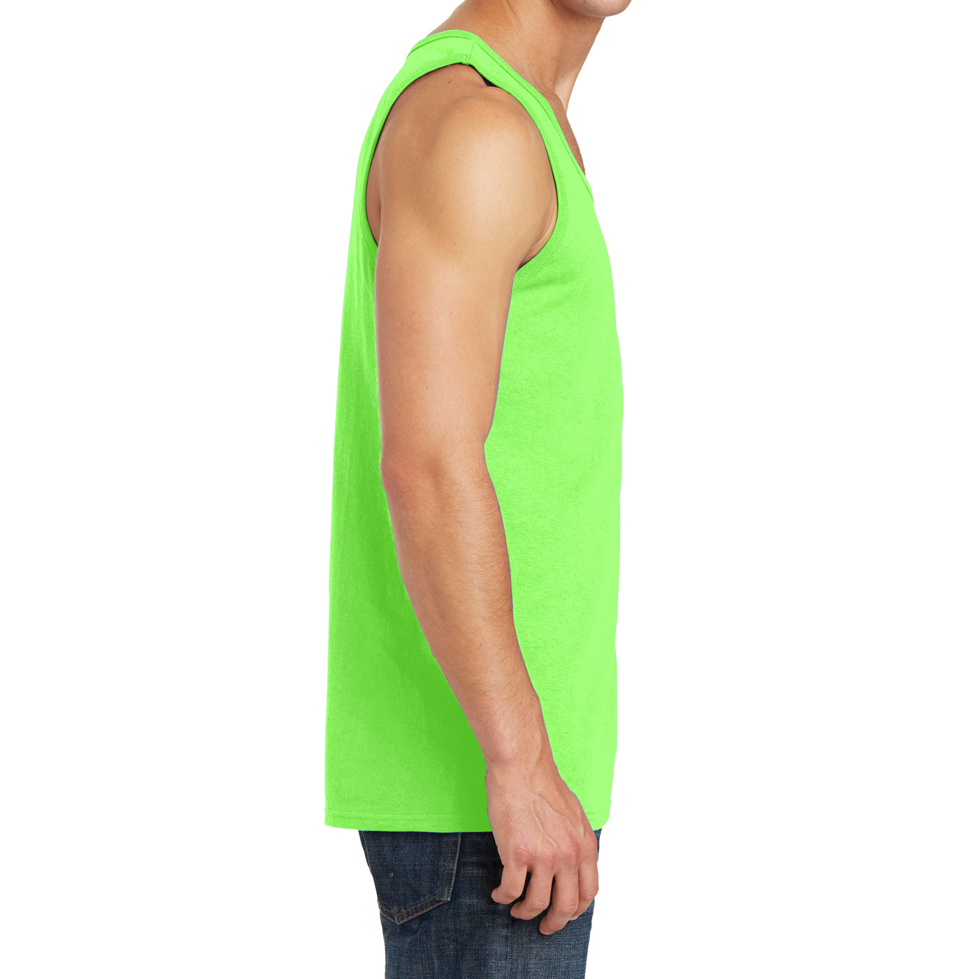 Men's Core Cotton Tank Top - Neon Green - Side