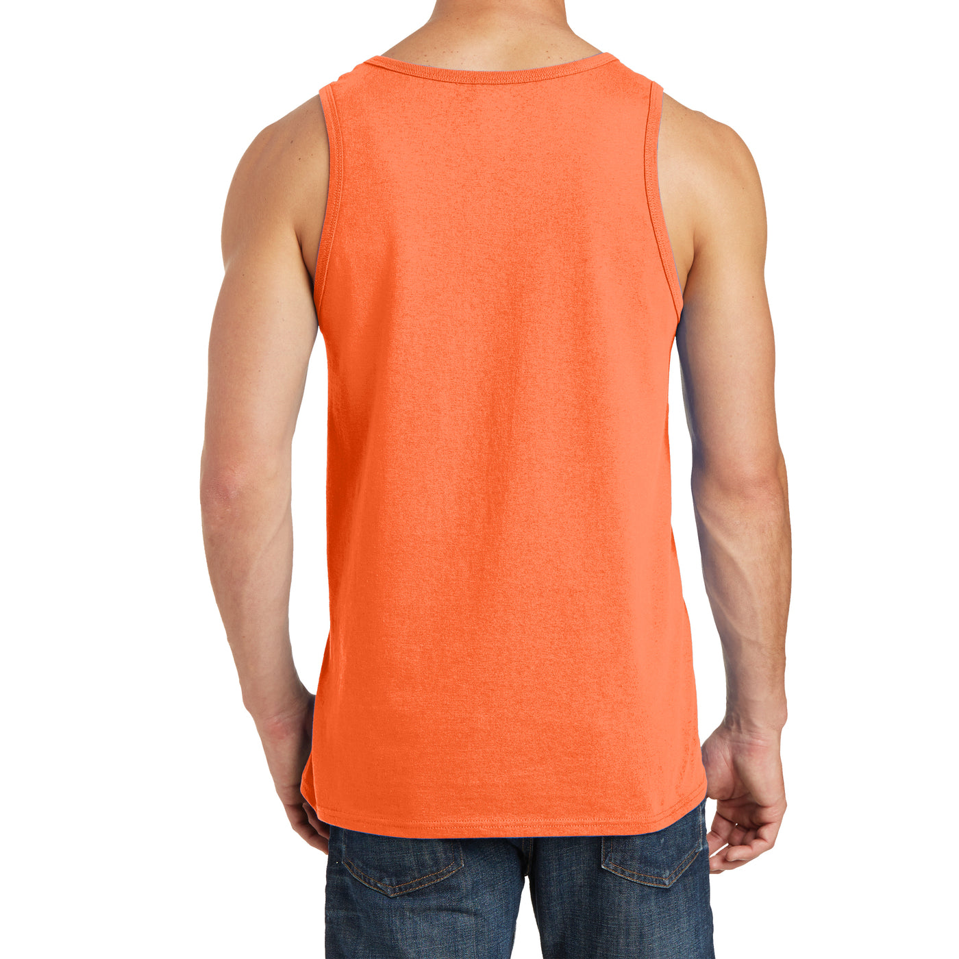 Men's Core Cotton Tank Top - Neon Orange - Back