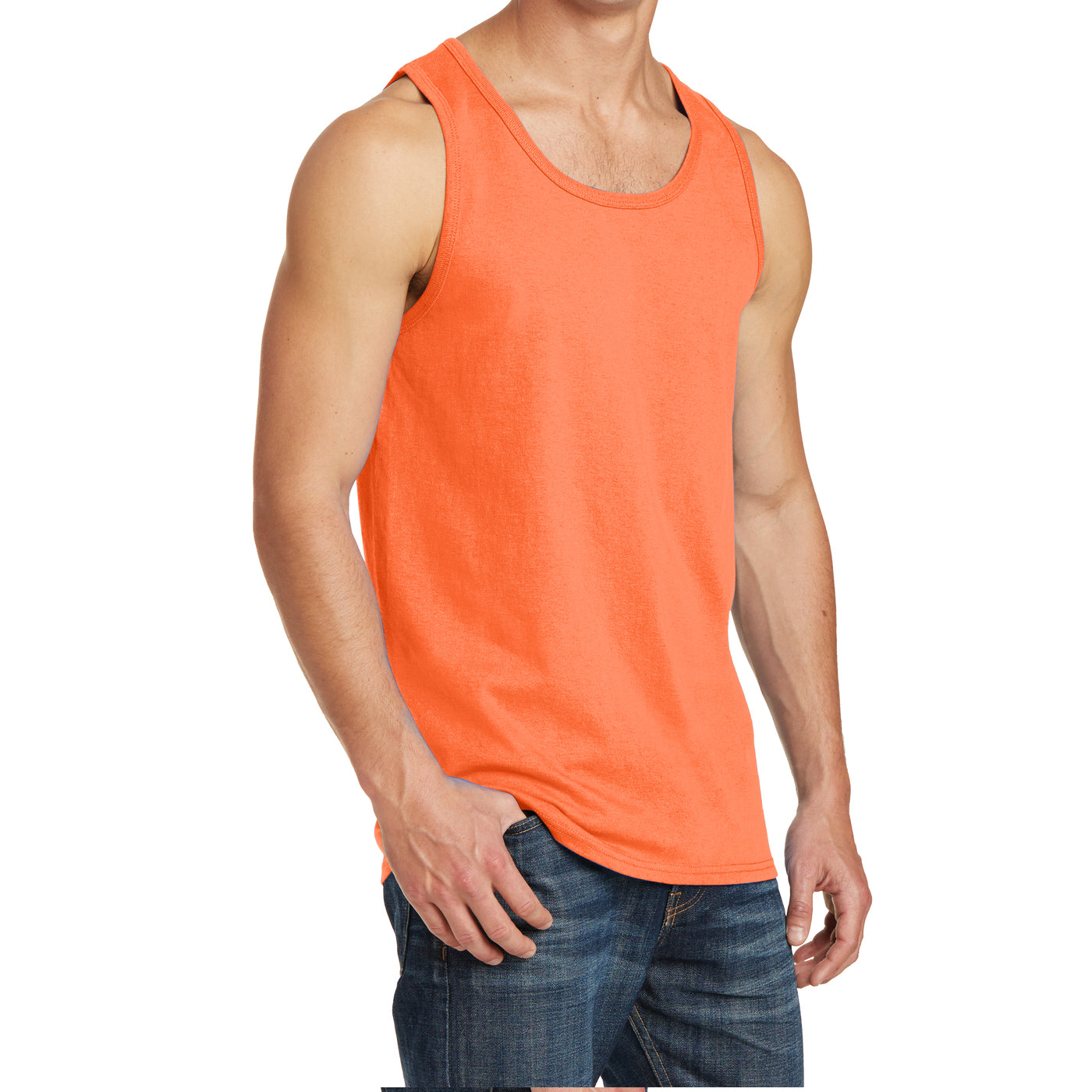 Men's Core Cotton Tank Top - Neon Orange - Side