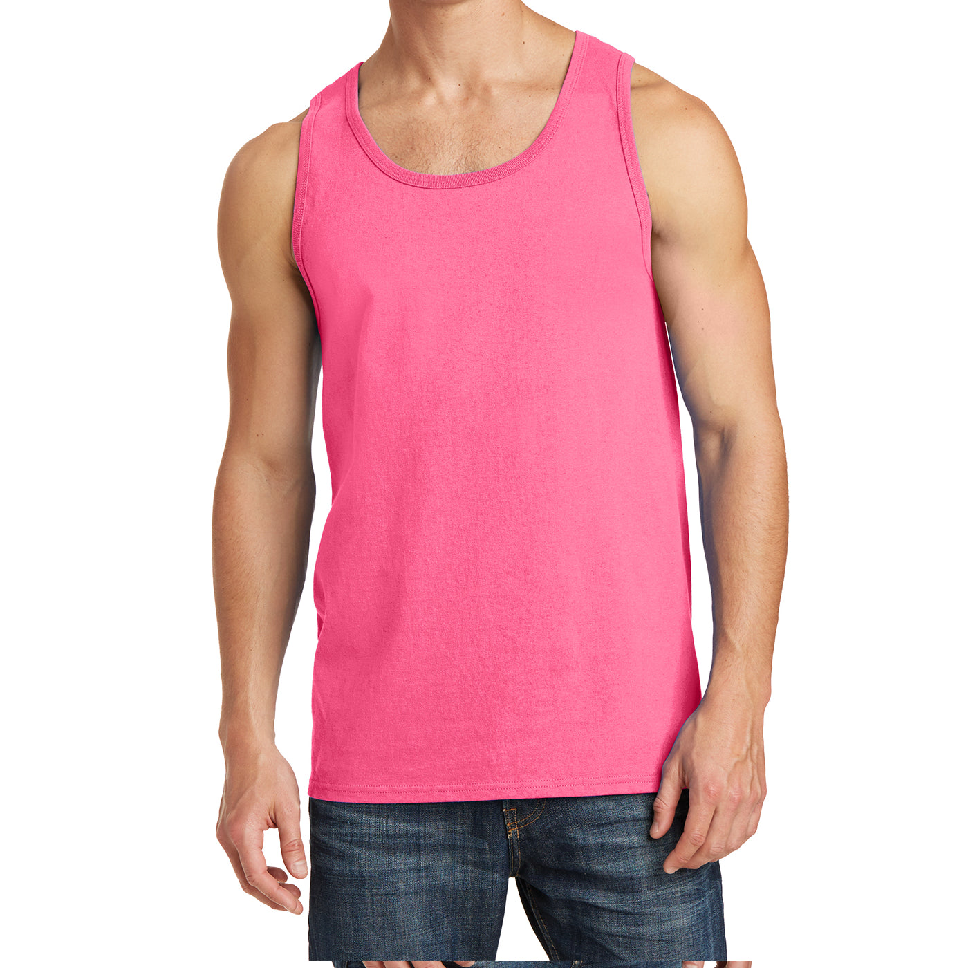 Men's Core Cotton Tank Top - Neon Pink - Front