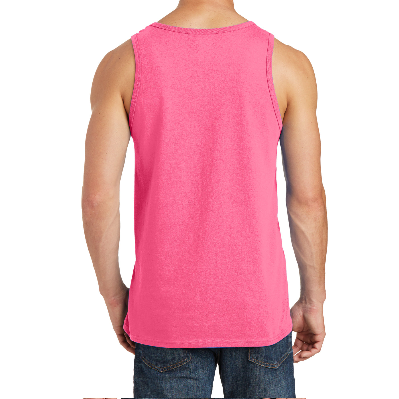 Men's Core Cotton Tank Top - Neon Pink - Back