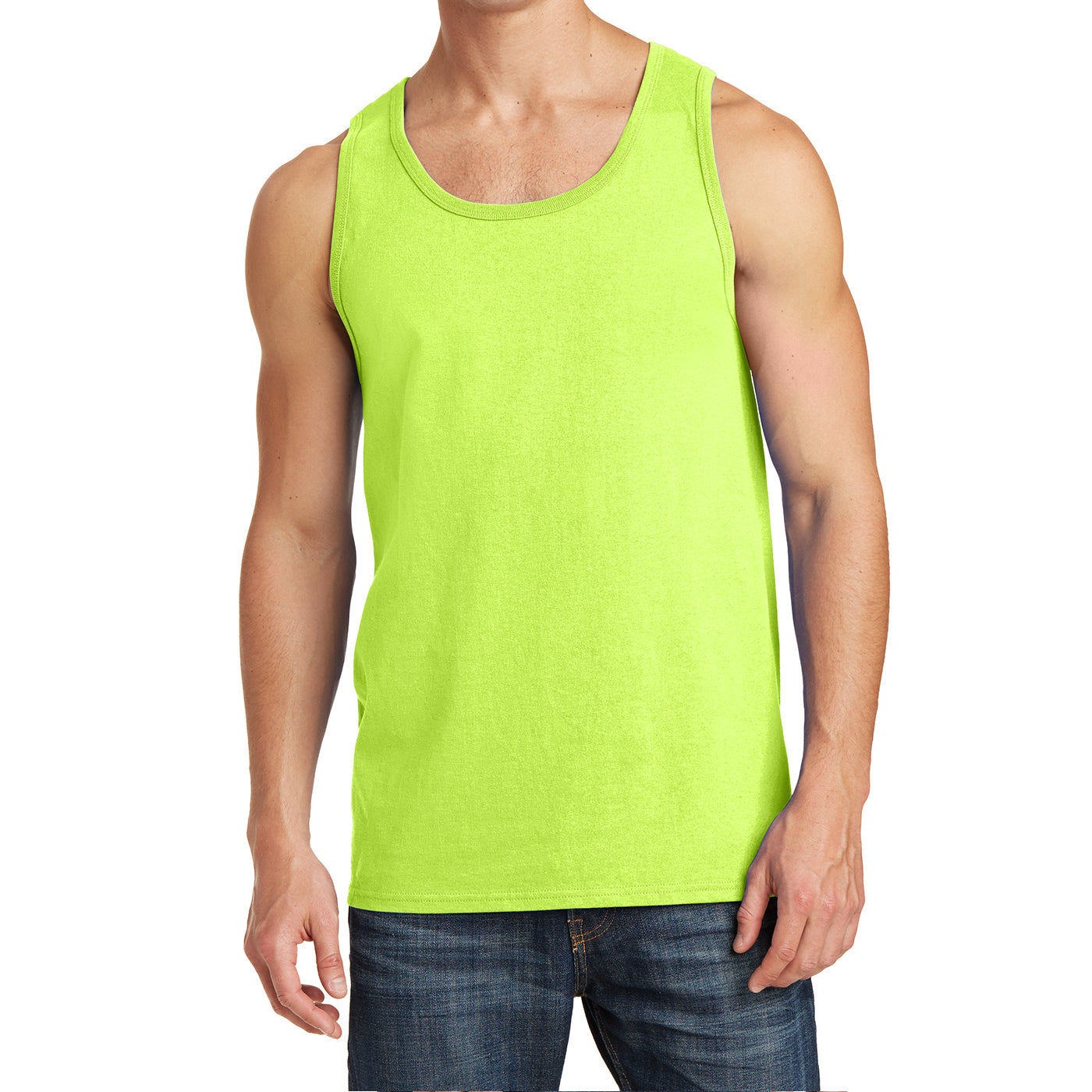 Men's Core Cotton Tank Top - Neon Yellow - Front