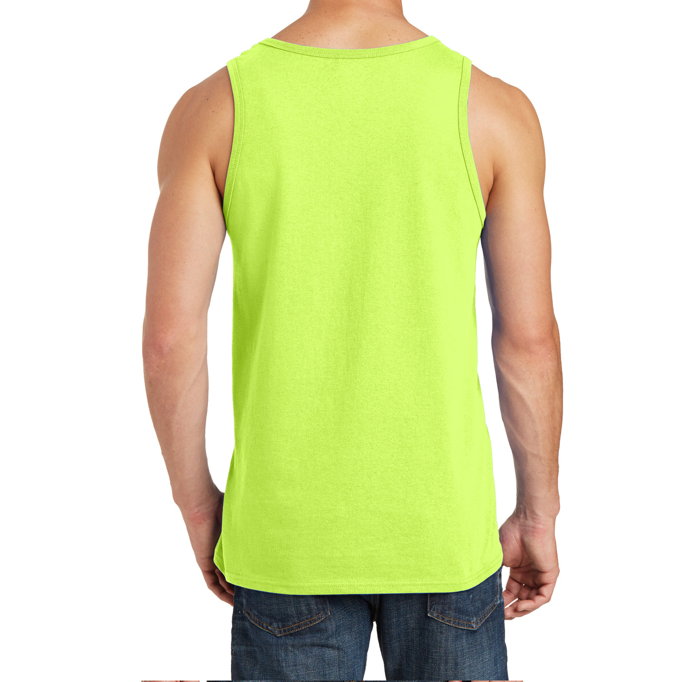 Men's Core Cotton Tank Top - Neon Yellow - Back
