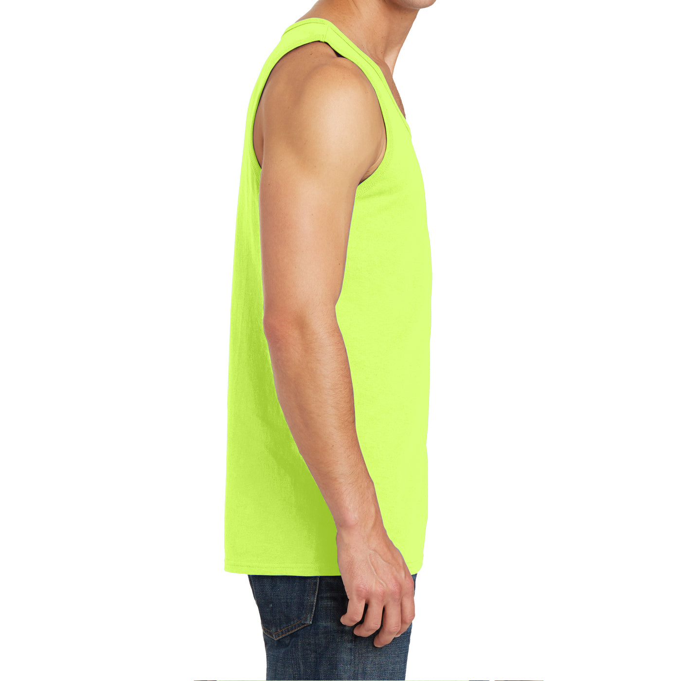 Men's Core Cotton Tank Top - Neon Yellow - Side