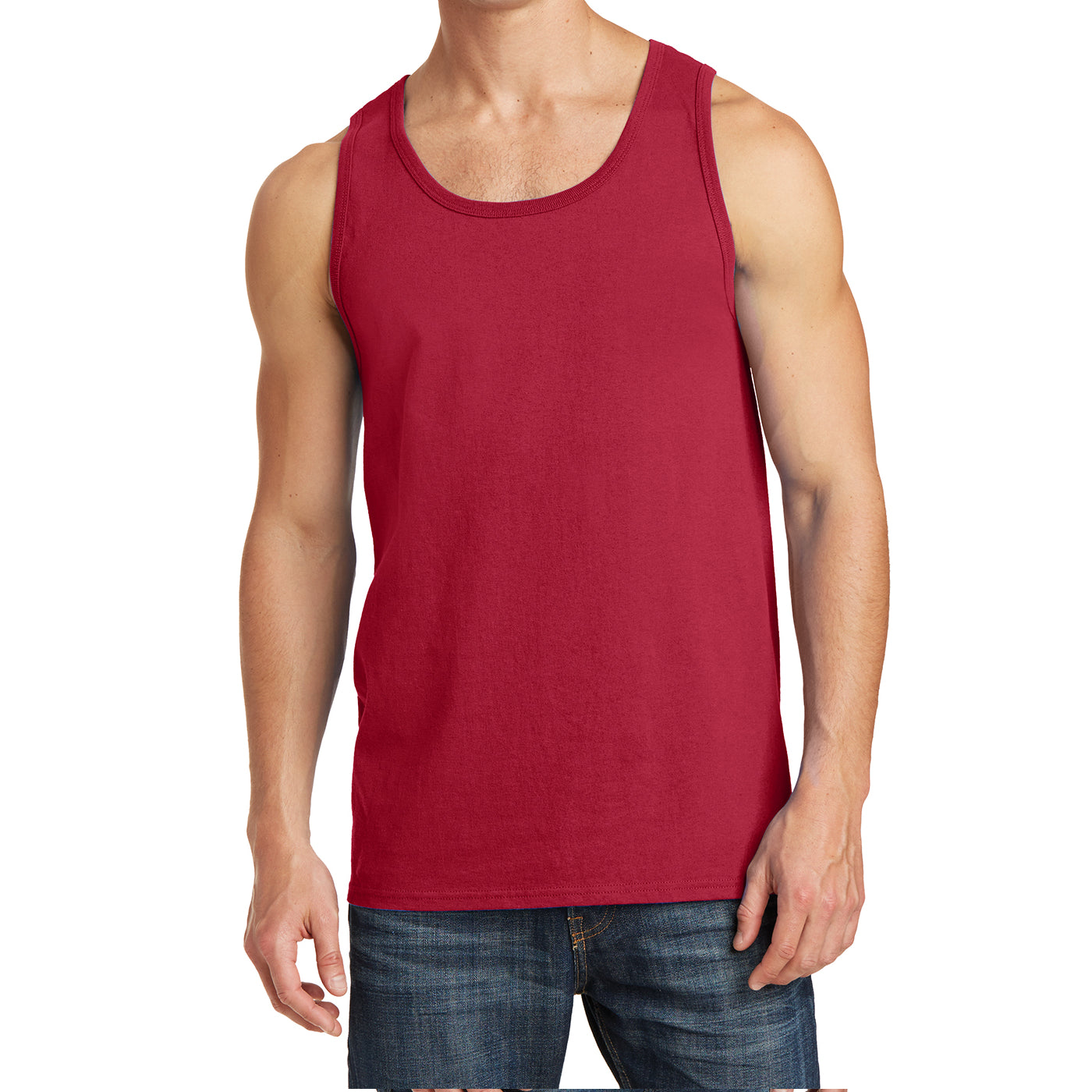 Men's Core Cotton Tank Top - Red - Front