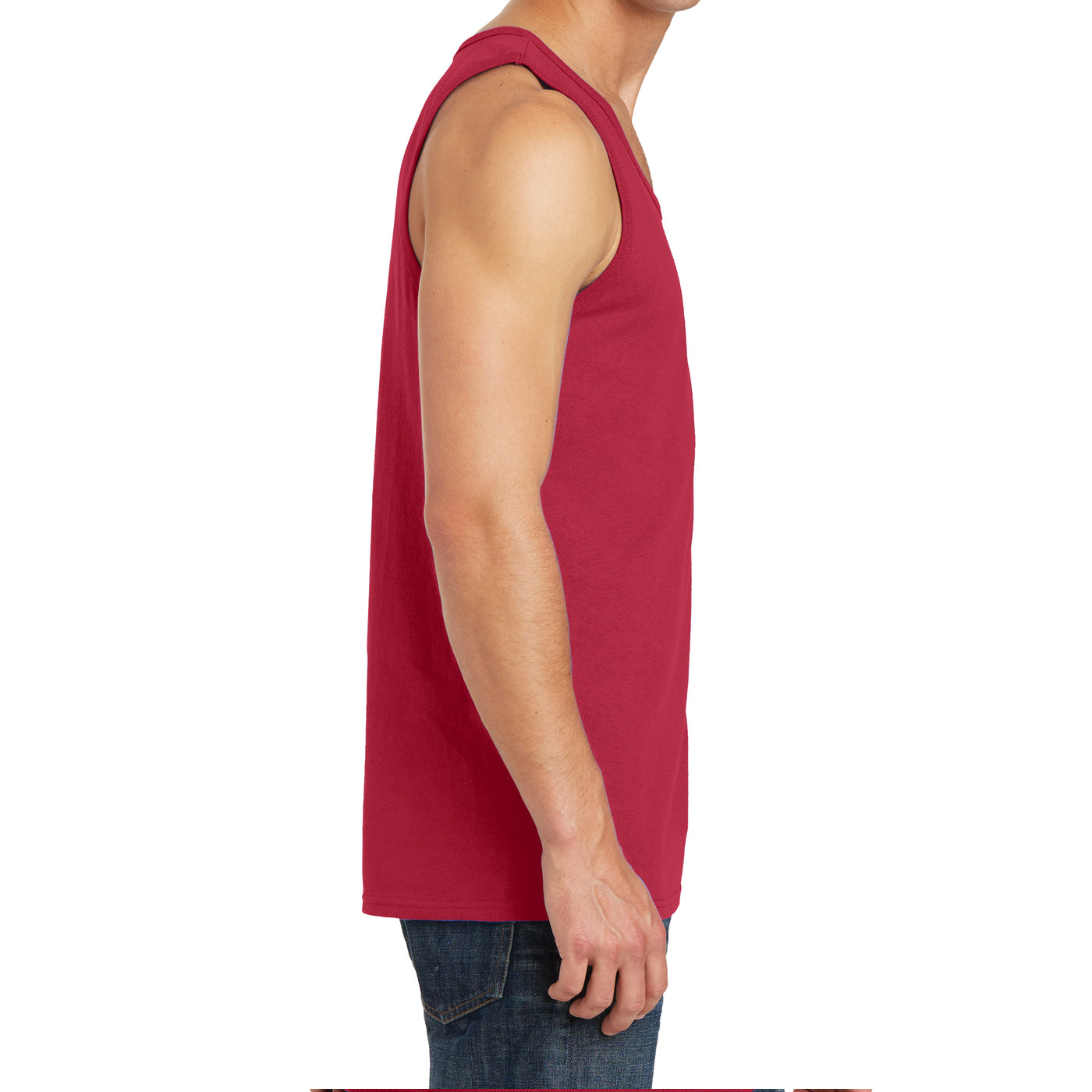 Men's Core Cotton Tank Top - Red - Side
