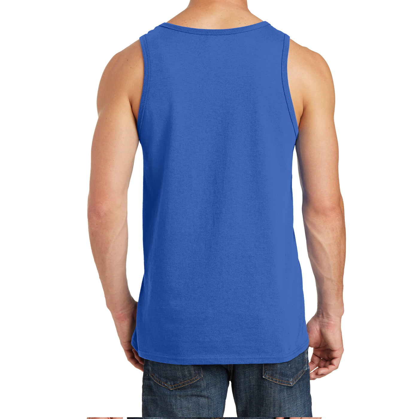 Men's Core Cotton Tank Top - Royal - Back