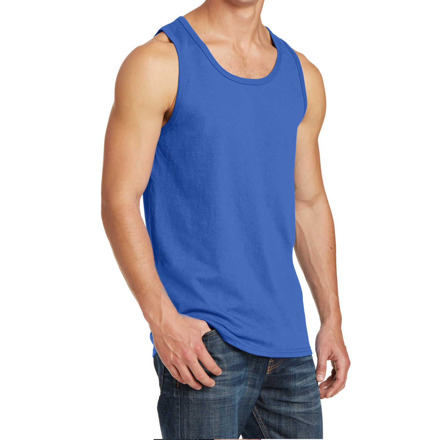 Men's Core Cotton Tank Top - Royal - Side