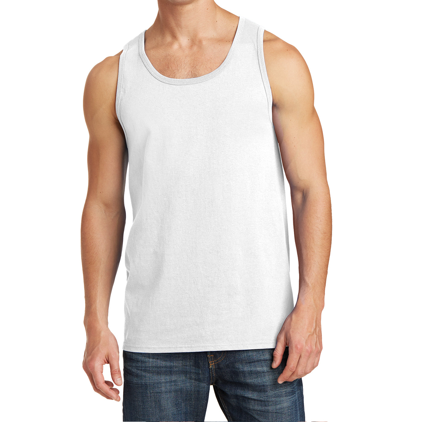 Men's Core Cotton Tank Top - White - Front