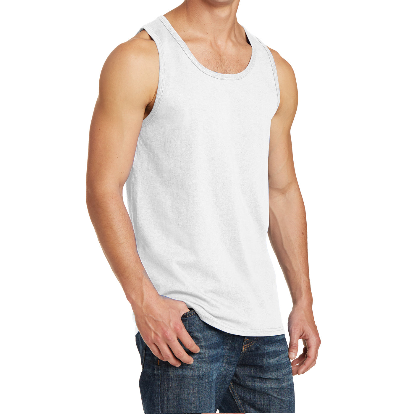 Men's Core Cotton Tank Top - White - Side