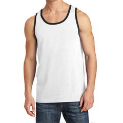 Men's Core Cotton Tank Top - White/ Jet Black - Front