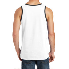 Men's Core Cotton Tank Top - White/ Jet Black - Back