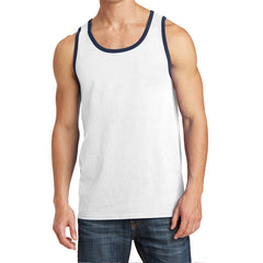 Men's Core Cotton Tank Top - White/ Navy - Front