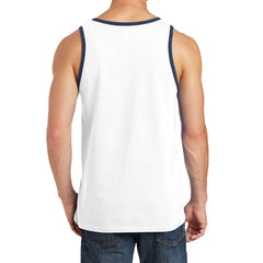 Men's Core Cotton Tank Top - White/ Navy - Back