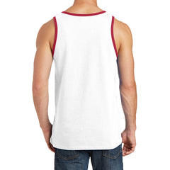 Men's Core Cotton Tank Top - White/ Red - Back