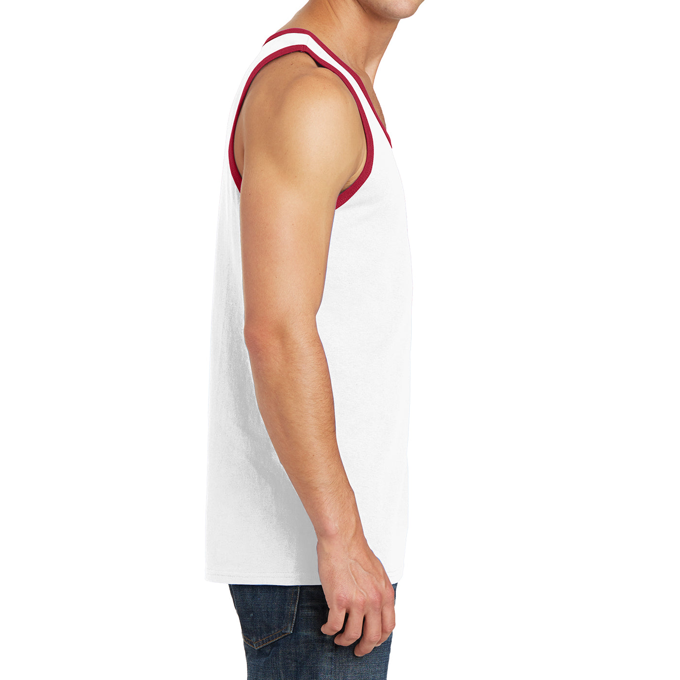 Men's Core Cotton Tank Top - White/ Red - Side