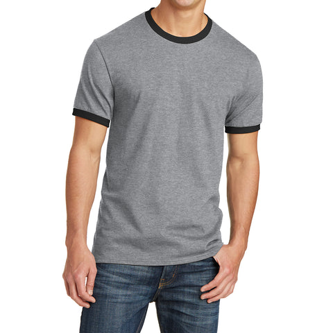 Men's Core Cotton Ringer Tee - Athletic Heather/Jet Black - Front