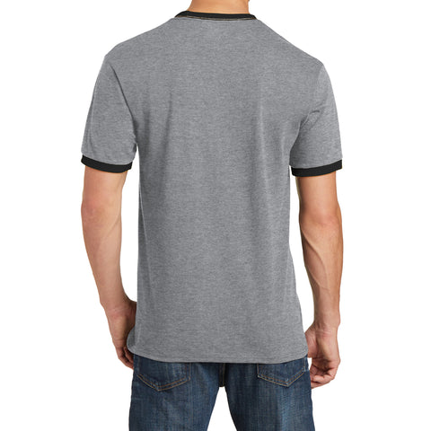 Men's Core Cotton Ringer Tee - Athletic Heather/Jet Black - Back