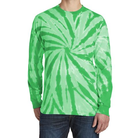 Men's Tie-Dye Long Sleeve Tee - Kelly - Front