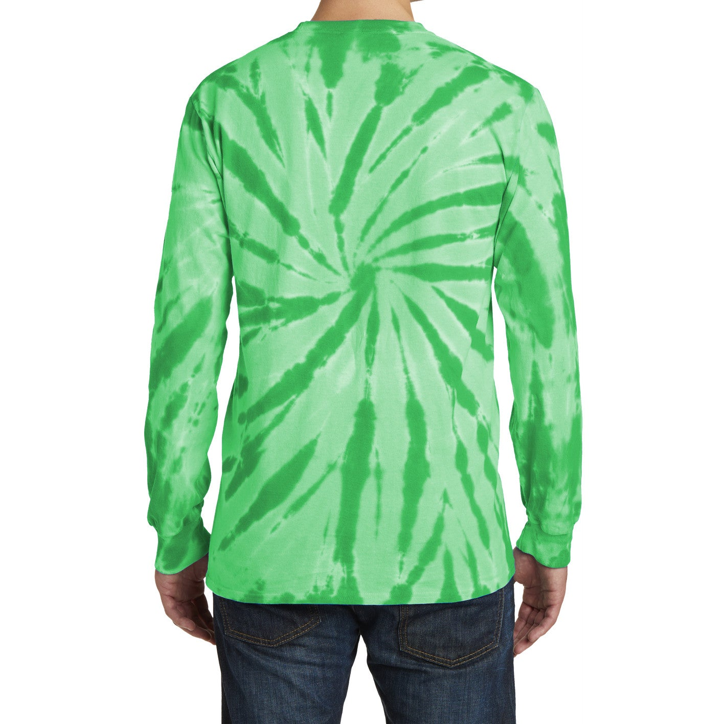 Men's Tie-Dye Long Sleeve Tee - Kelly - Back