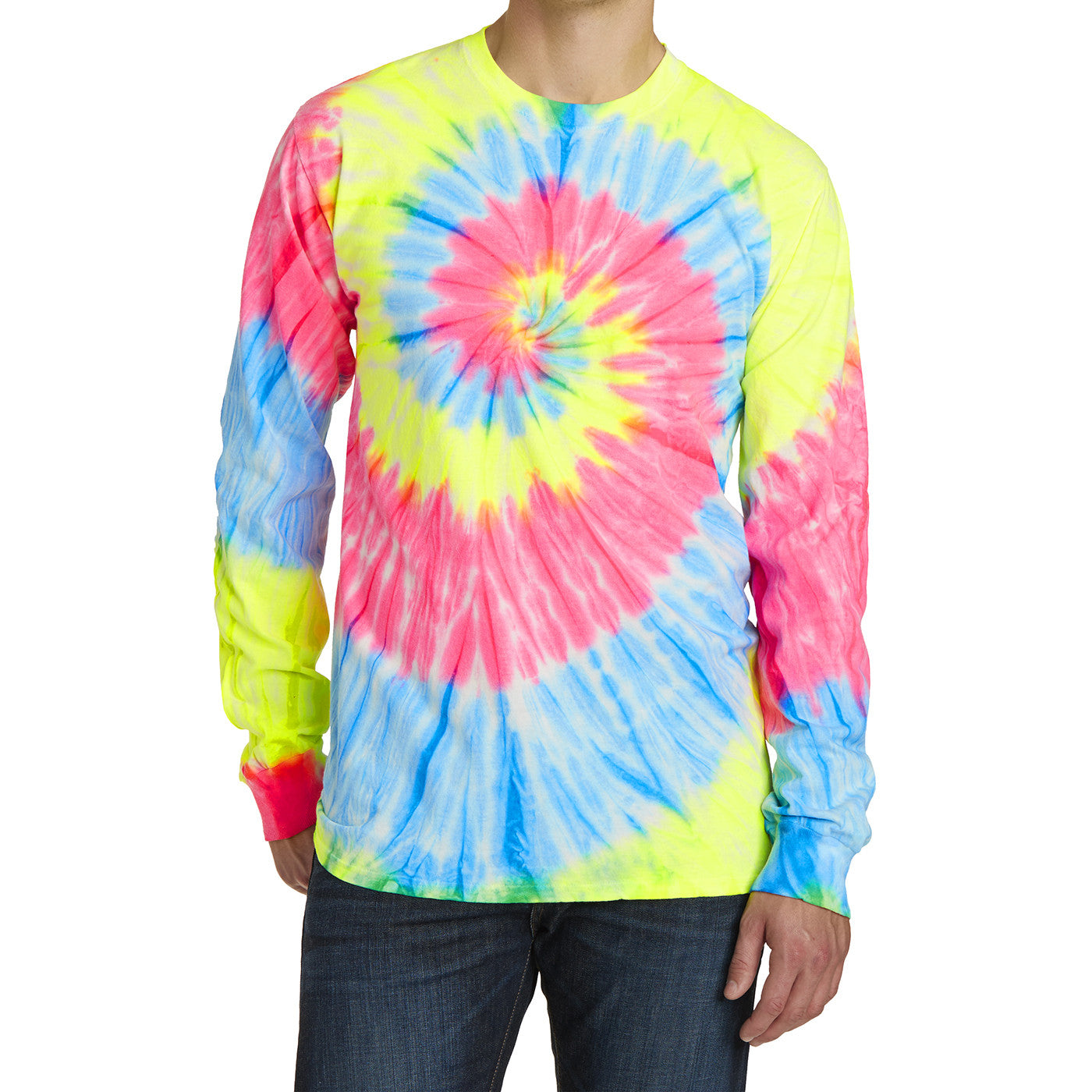Men's Tie-Dye Long Sleeve Tee - Neon Rainbow - Front