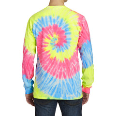 Men's Tie-Dye Long Sleeve Tee - Neon Rainbow - Back