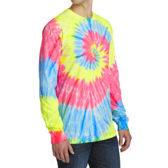 Men's Tie-Dye Long Sleeve Tee - Neon Rainbow - Side