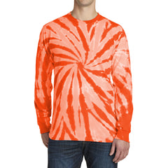 Men's Tie-Dye Long Sleeve Tee - Orange - Front