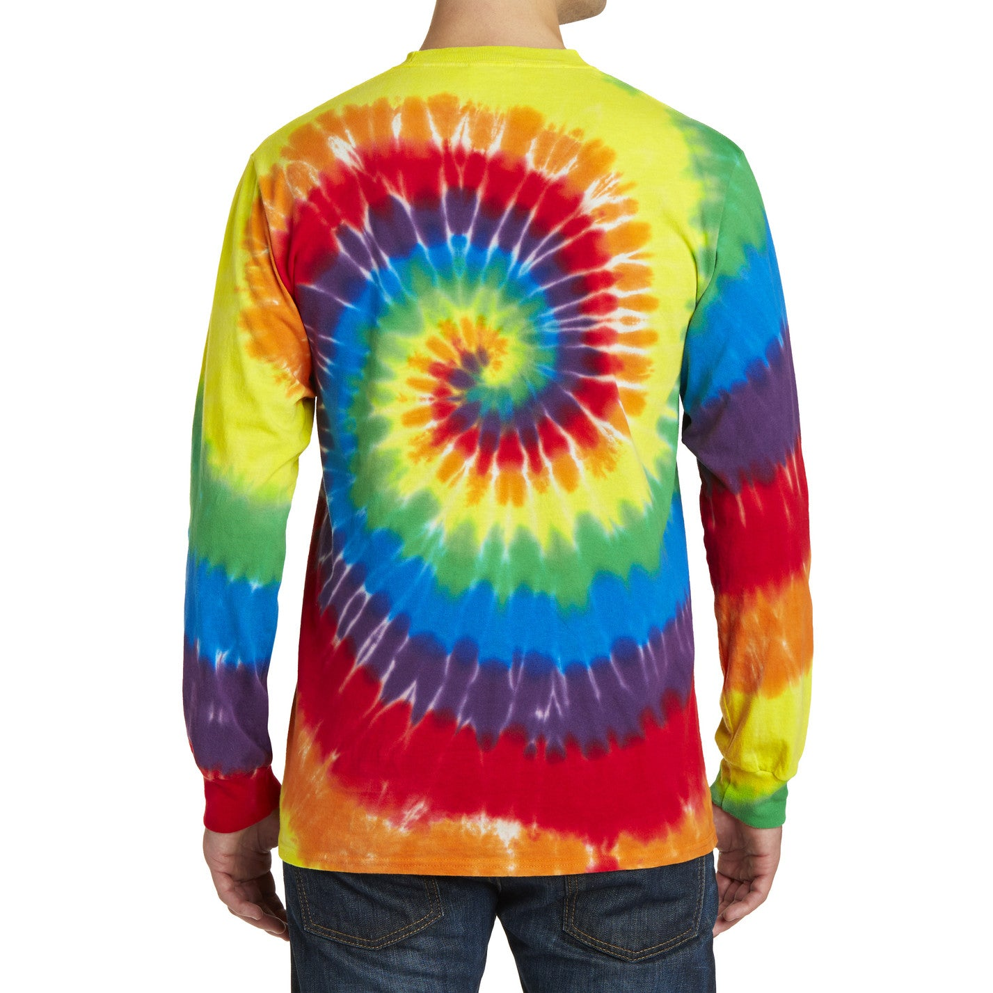 Men's Tie-Dye Long Sleeve Tee - Rainbow - Back