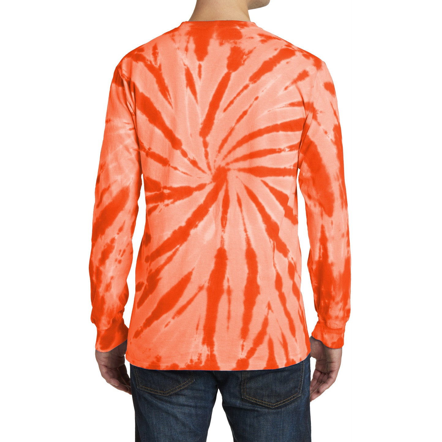 Men's Tie-Dye Long Sleeve Tee - Orange - Back