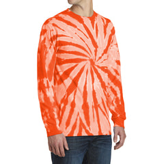Men's Tie-Dye Long Sleeve Tee - Orange - Side