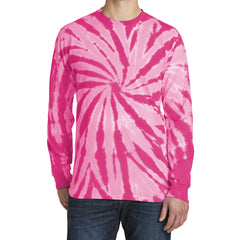 Men's Tie-Dye Long Sleeve Tee - Pink - Front