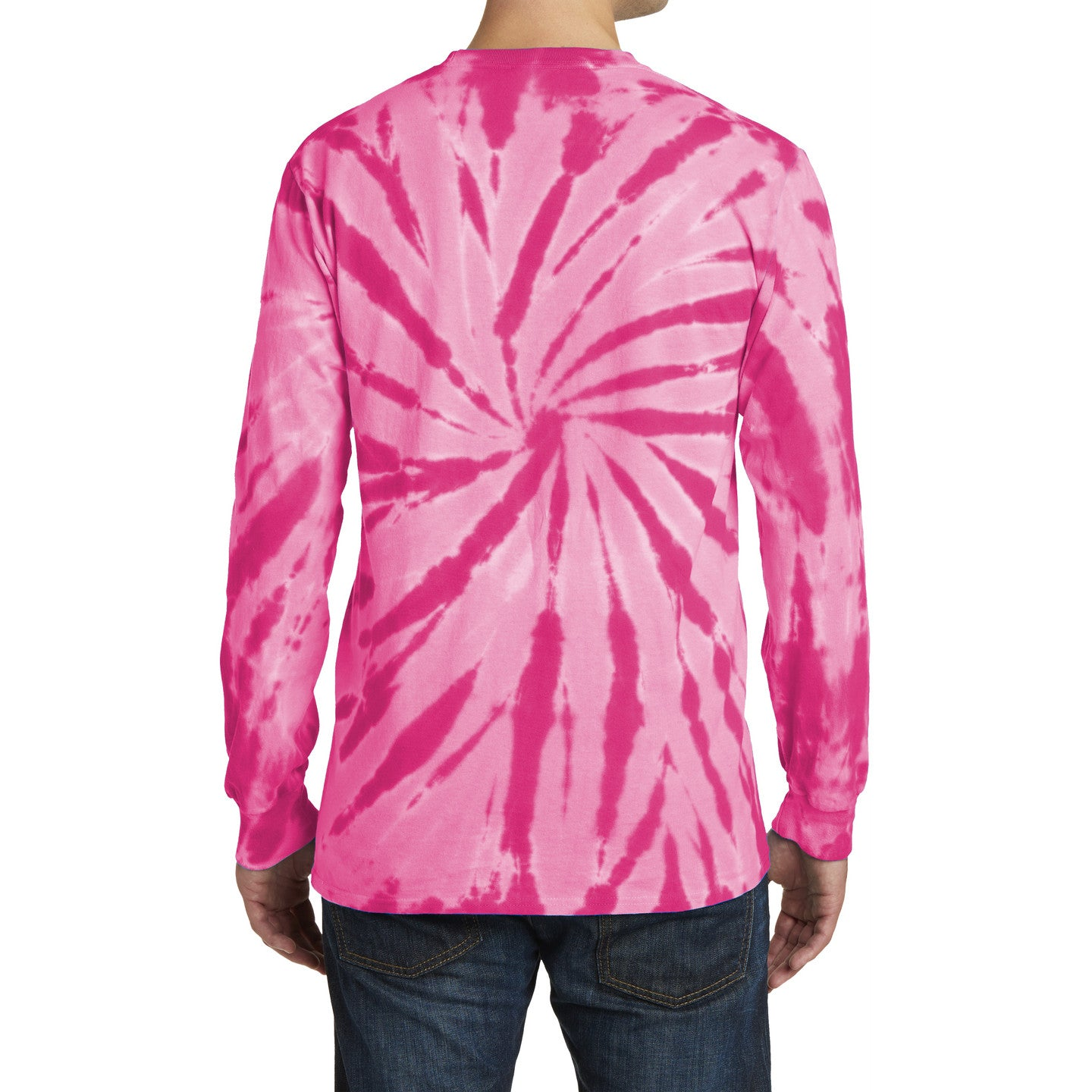 Men's Tie-Dye Long Sleeve Tee - Pink - Back