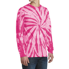 Men's Tie-Dye Long Sleeve Tee - Pink - Side