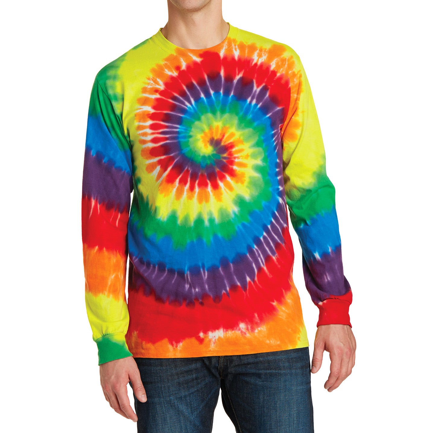 Men's Tie-Dye Long Sleeve Tee - Rainbow - Front