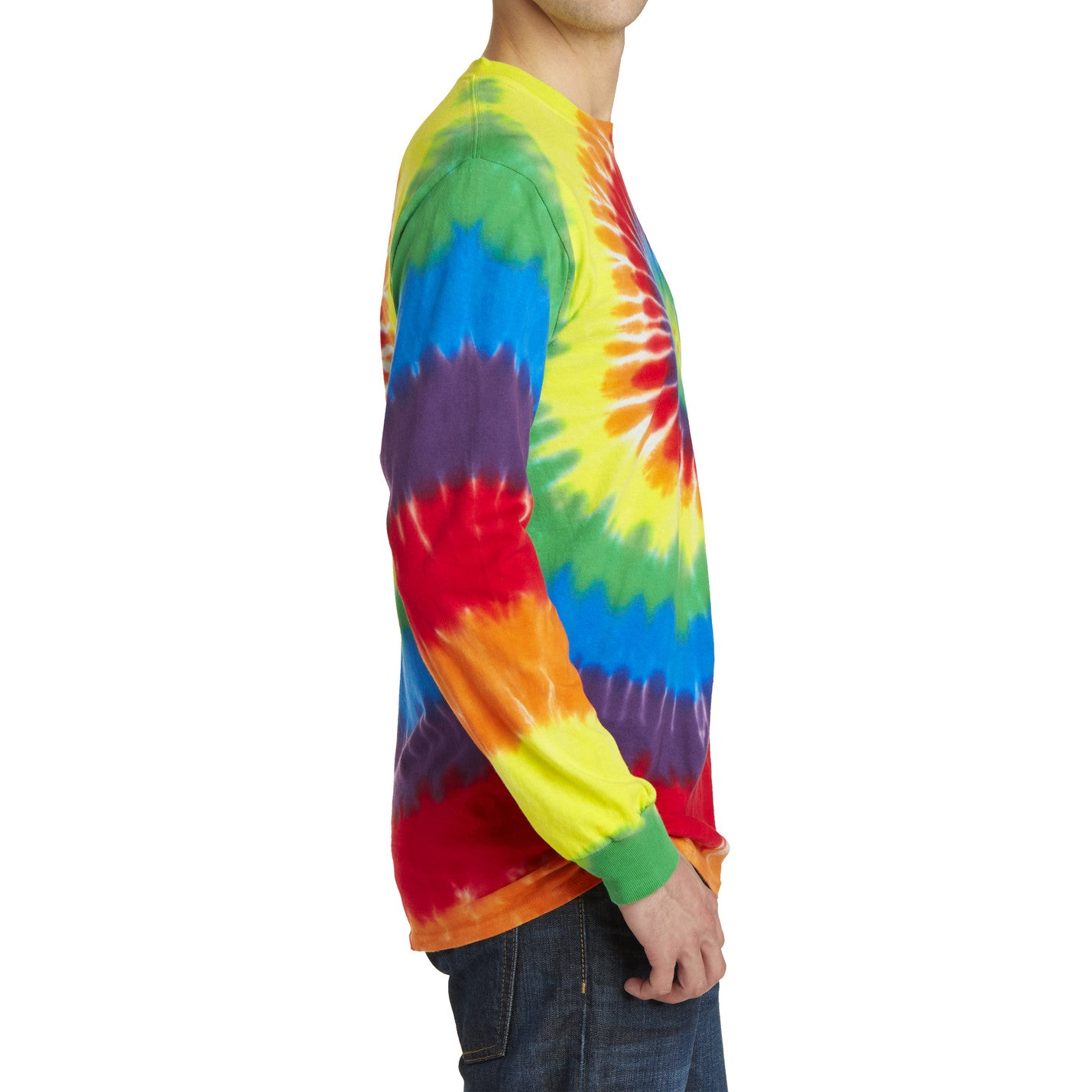 Men's Tie-Dye Long Sleeve Tee - Rainbow - Side